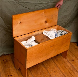 wooden box, in use