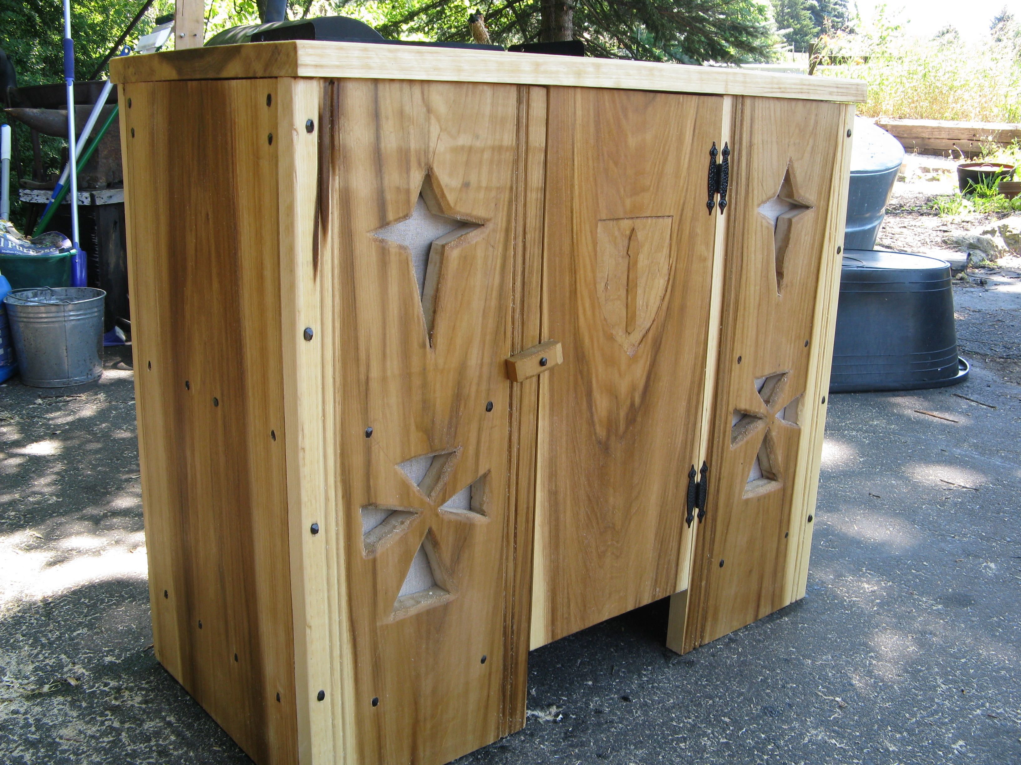 Ambry With Northern Army Star Design; Made Of Poplar And Finished With  Linseed Oil.